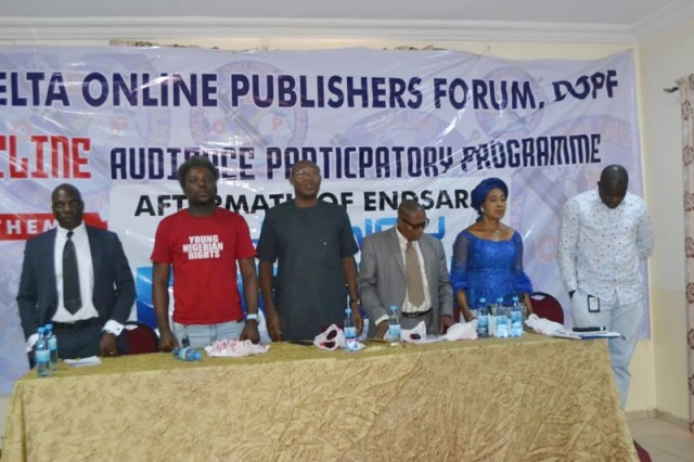 Participants at Delta Online Publishers Forum programmes on the Aftermath of EndSARS Protest by Nigerian Youths