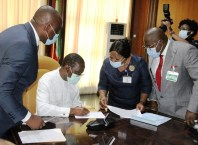 Delta Governor, Senator Dr. Ifeanyi Okowa (2nd left)); Speaker, Delta State House of Assembly, Rt. Hon. Sheriff Oborevwori (right); Attorney-General and Commissioner for Justice, Barr. Peter Mrakpor (left) and Clerk of the House, Barr. (Mrs.) Lyna Ocholor, during the signing of the  2021 Appropriation Bill into Law by the Governor in Government House ,Asaba. Monday, November 30, 2020 (Pix: Jibunor Samuel)