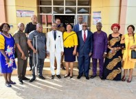 Delta State Head of Service, Mr. Reginald Bayoko in White Suit flanked by Retired Permanent Secretaries of the Delta State Civil Service on Monday, November 16, 2020