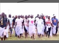 Tompolo (middle) during the thanksgiving festival of Bini-Ebi Madinor Bou , Ijaw Goddess of Love and purity, at Ogulagha kingdom