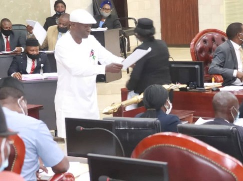 Hon Austin Uroye member representing Warri South One Constituency and Chairman, House Committee on Health presenting the Bill on Tuesday, December 1, 2020.