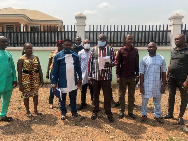 Members of Delta State Political Parties Stakeholders Forum in a group photograph shortly after the communique was reached at an emergency meeting in Asaba