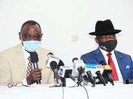 Delta Commissioner for Higher Education, Prof. Patrick Muoboghare and Commissioner for Information, Mr. Charles Aniagwu while briefing journalists in Government House, Asaba, on Wednesday, January 27, 2021 (Pix: Jibunor Samuel)