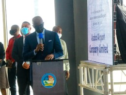 The Secretary to Delta State Government (SSG), Mr Chiedu Ebie speaking at the Concession Agreement Ceremony of Asaba International Airport on February 23, 2021