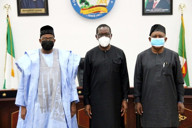 National Chairman of PDP, Prince Uche Secondus (right),Delta Governor, Senator Ifeanyi Okowa (middle)and their Bauchi state counterpart, Senator Bala Mohammed during a condolence visit to Governor Okowa in Government House, Asaba over the Death of Pa Arthur Okowa on Wednesday, February 3, 2021.(Pix: Jibunor Samuel)