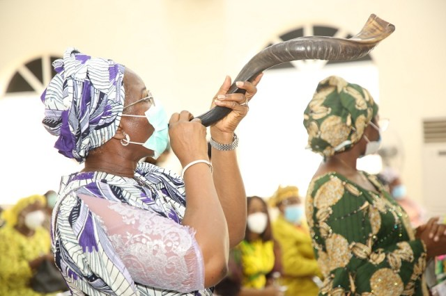 The wife of the Delta State governor and founder O5 Initiative, Dame Edith Okowa during the Annual Mothers Arise Women prayer conference held at Government House Chapel, Asaba on Tuesday, February 2, 2021. PIX NORBERT AMEDE