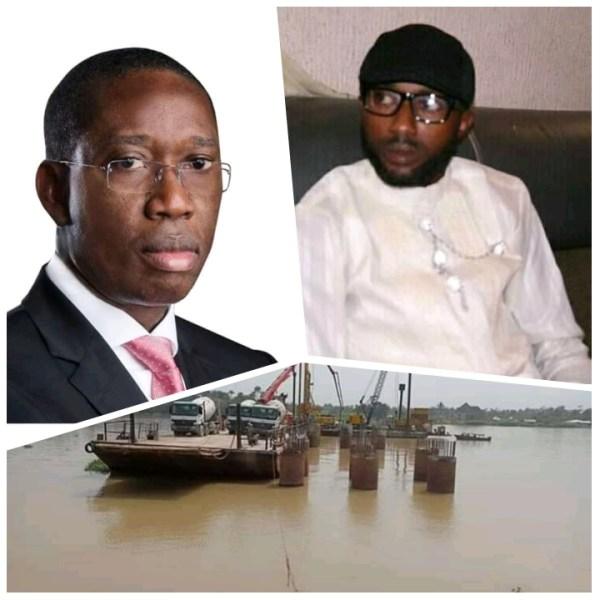 Delta Governor, Senator Ifeanyi Okowa (left), Comrade Oyinbi Onduku (right) and Photo of Ayakoromo Bridge under Construction