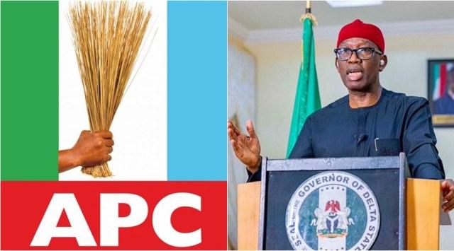 APC Logo and Governor Ifeanyi Okowa
