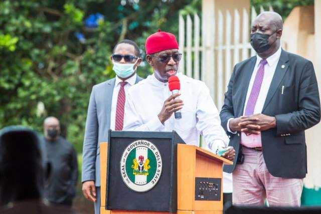 Delta State Governor, Senator Ifeanyi Okowa speaking at a Road Opening Ceremony on Wednesday, June 30, 2021