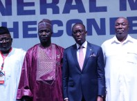 Delta Governor, Senator Dr. Ifeanyi Okowa (2nd right); his Deputy, Deacon Kingsley Otuaro (right); Chairman, Conference of Speakers of States Legislatures, Rt. Hon. Abubakar Suleman ,(2ndleft)and the Vice Chairman and Speaker, Delta House of Assembly, Rt. Hon. Sheriff Oborevwori, (left) during the Opening of the 2nd Quarter General meeting of Speakers Conference at the Event Center, Asaba on Saturday, June 26, 2021