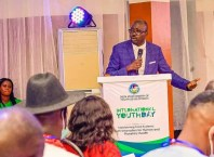 Dr Eric Nwachukwu speaking at the 2021 International Youth Day Master Class organised by the Delta State Ministy of Youth Development
