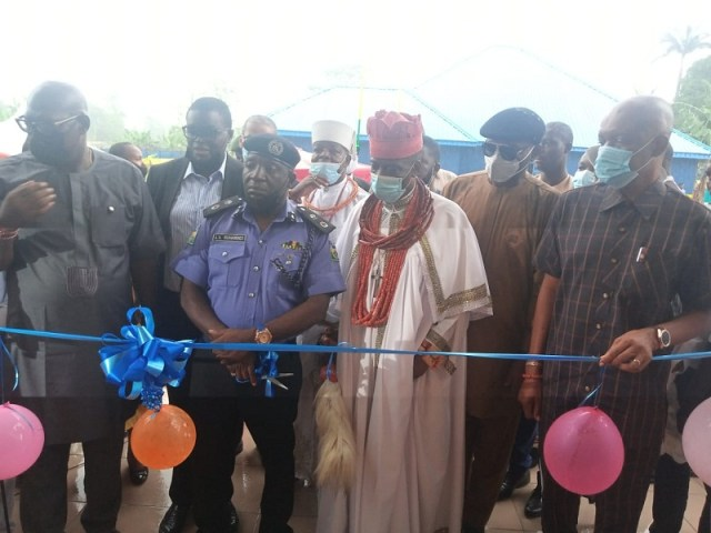 Delta State CP, Ari Muhammed Ali, Orodje of Okpe, HRM Felix Mujakperuo Others at the Commissioning of the Sapele Area Command Headquarters Building