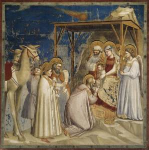 Adoration of the Magi (1304-06) by Giotto.