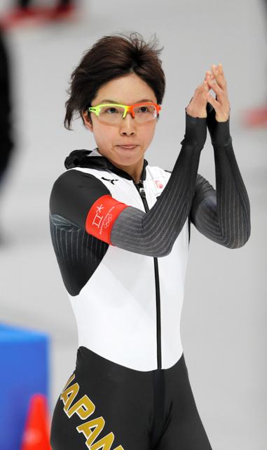 女子1000メートルで銀メダルを獲得した小平奈緒=14日、江陵オーバル、遠藤啓生撮影