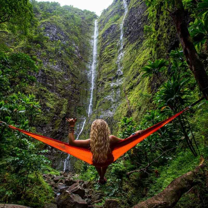 Girl in a hammock in the jungle