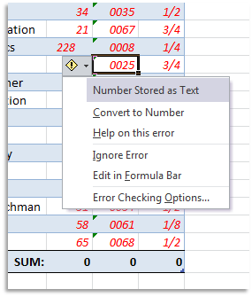 Excel Error Checking - Convert to Number