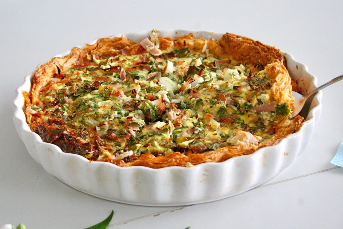 A whole ham and herb quiche