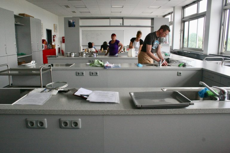 A school teaching kitchen