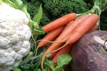 Fresh cauliflower, kale, carrots, lamb's lettuce and a swede