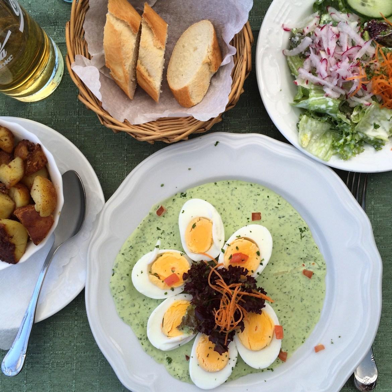 A plate of eggs with Grüne Soße
