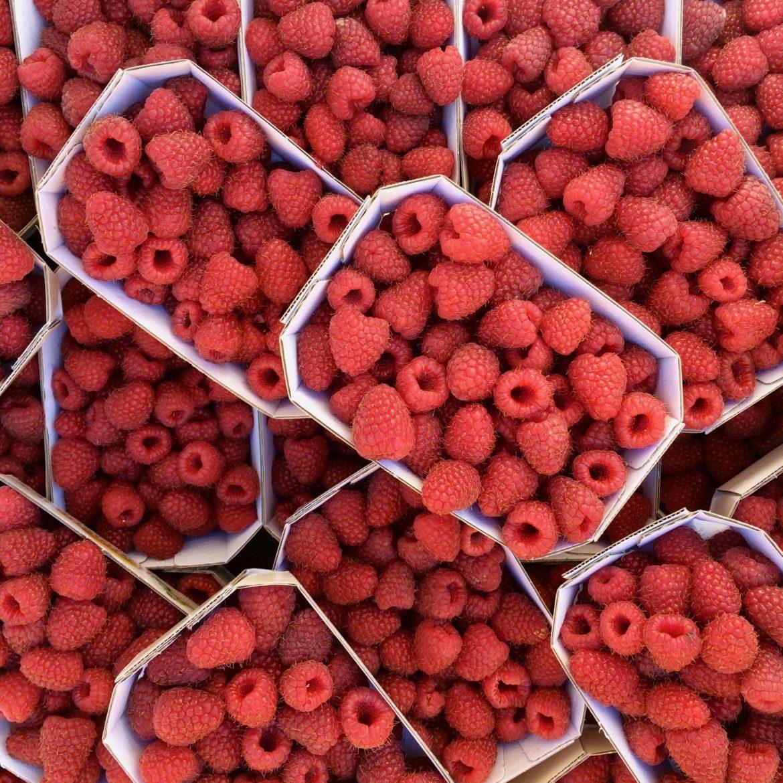 Stacked punnets of fresh raspberries