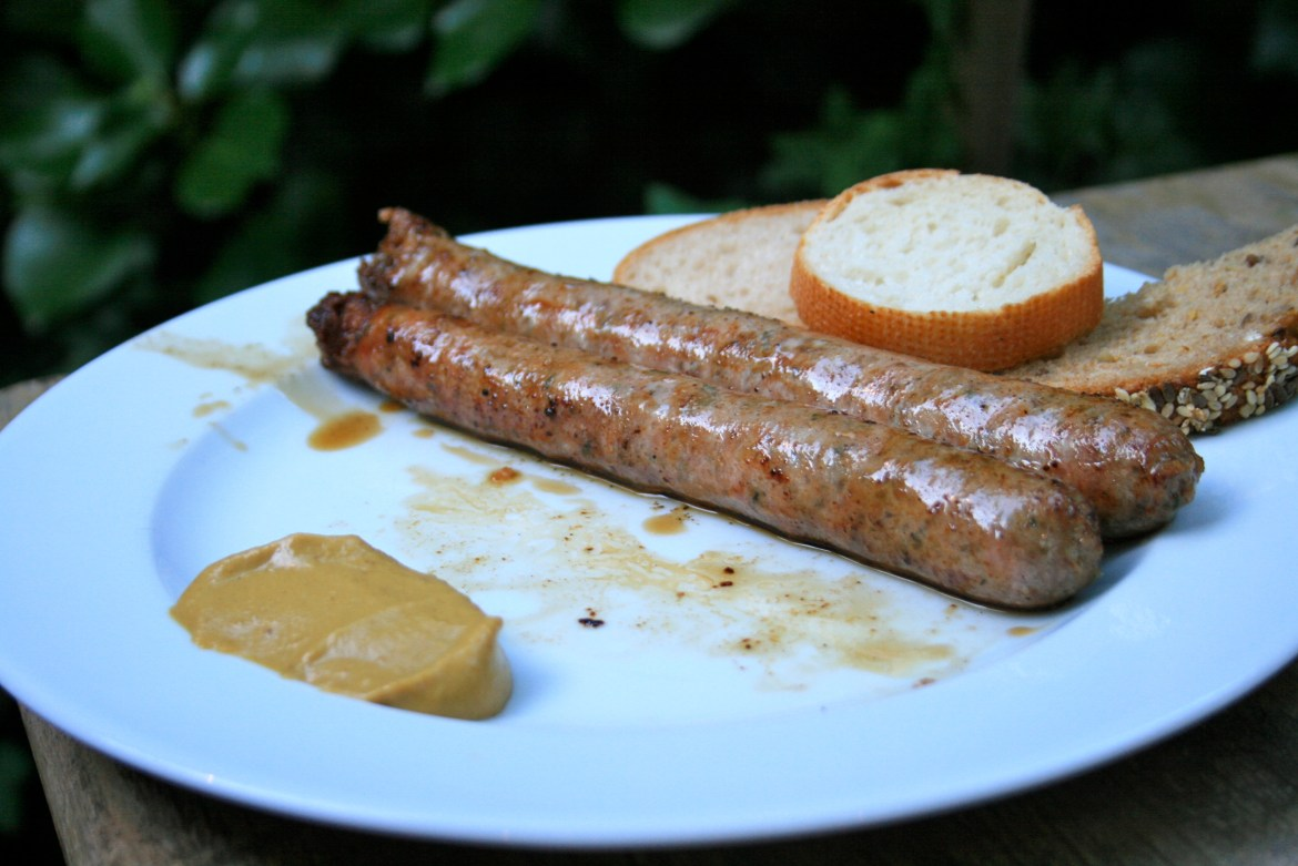 Lamb sausage on a plate
