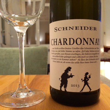 A bottle of German Chardonnay from the Schneider winery