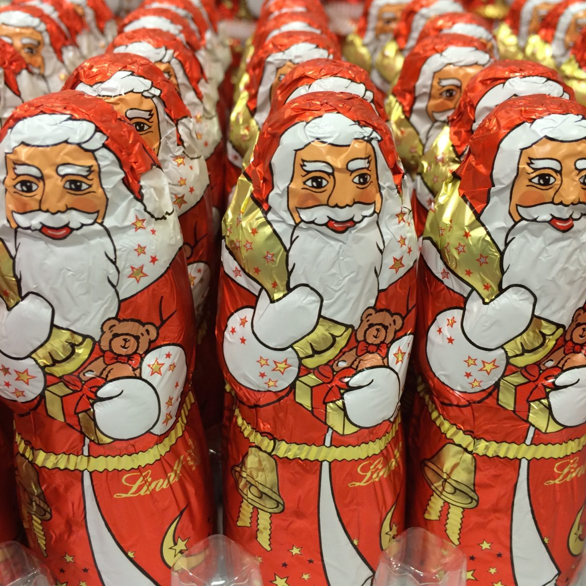 Wrapped chocolate Santa Clauses