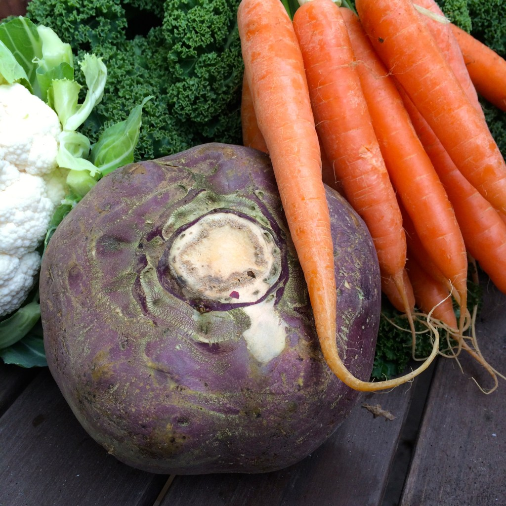 Turnip with carrots, kale and cauliflower