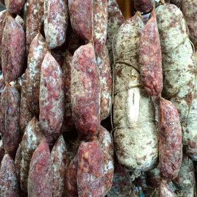 French air-dried and cured sausages hanging