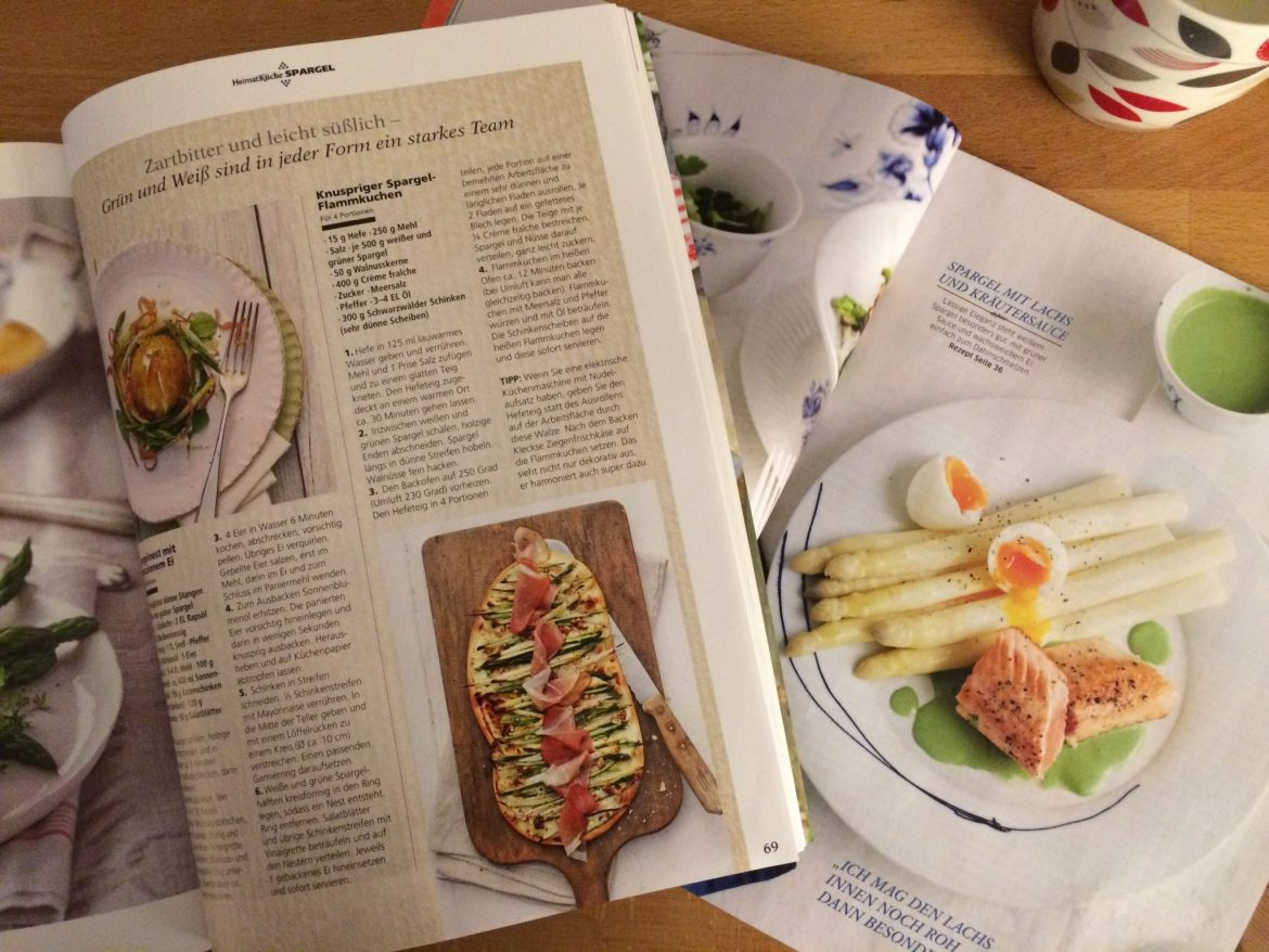 German cookery magazines with asparagus recipes in