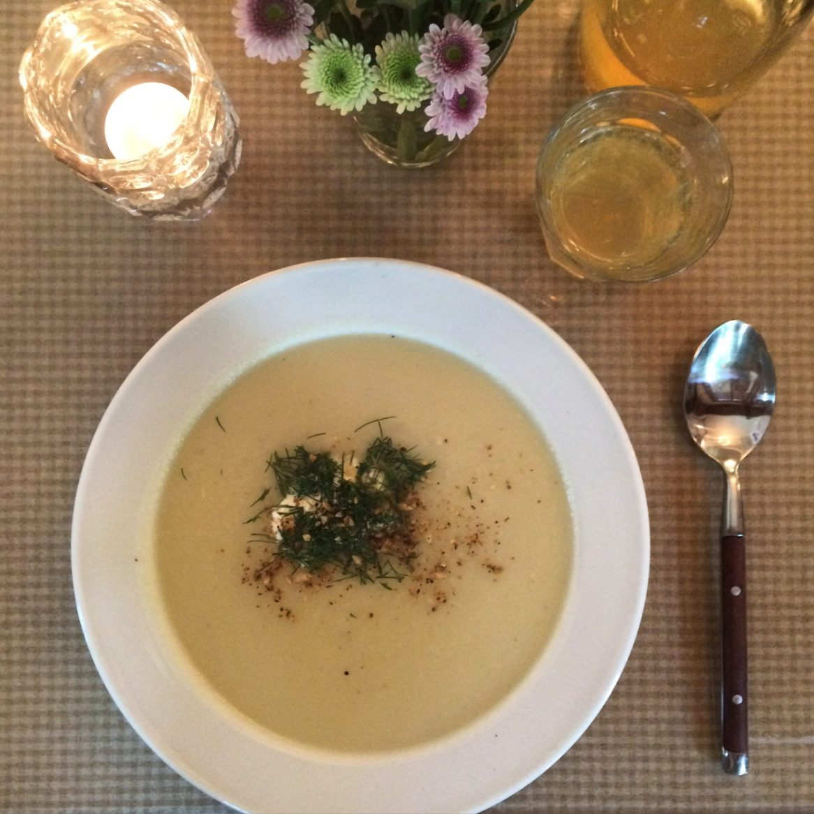 Bowl of kohlrabi soup