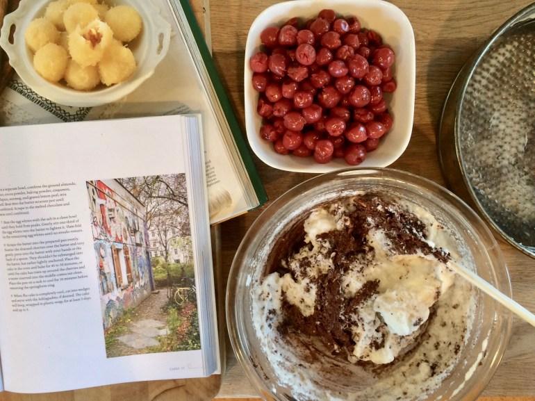 Ingredients for dark chocolate cherry cake