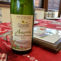 Close up of a bottle of wine in Cleebourg, Alsace