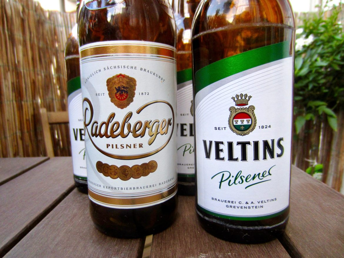 Four bottles of German beer (Pilsner)