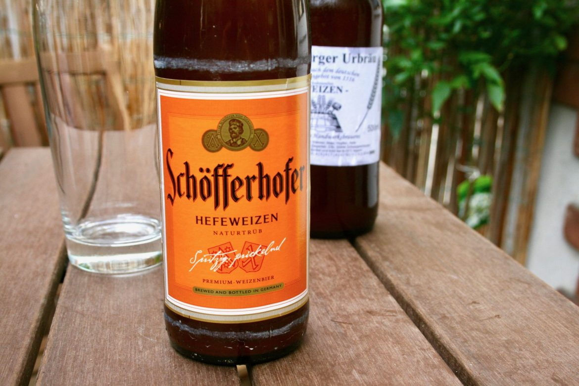 Bottles of German beer on a garden table
