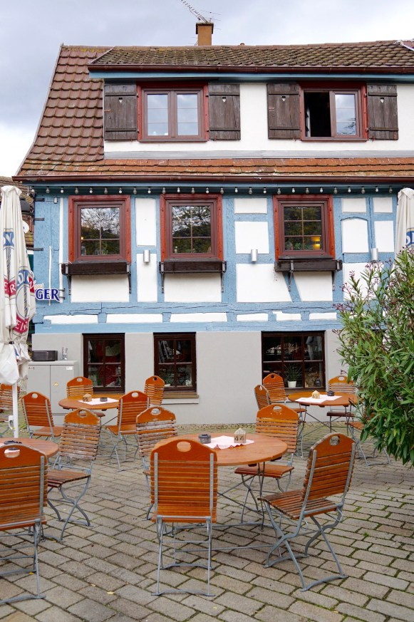 The exterior of half-timber restaurant Wirtshaus Zum Erdinger in Sindelfingen