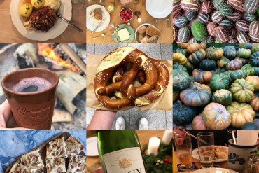 A collection of nine food photographs from A Sausage Has Two on Instagram