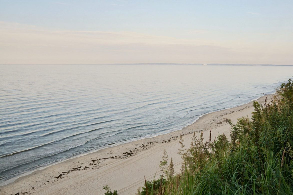 The Baltic Sea taken from the dunes above a white sandy beach on Usedom