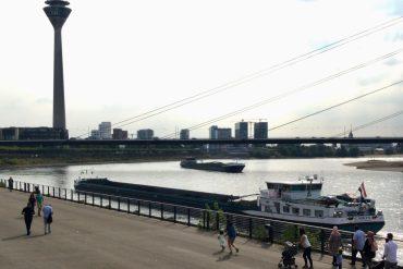 River view of the Rheinturm, Düsseldorf