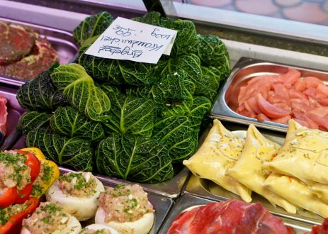 Kohlrouladen and Maultaschen in a butcher's counter