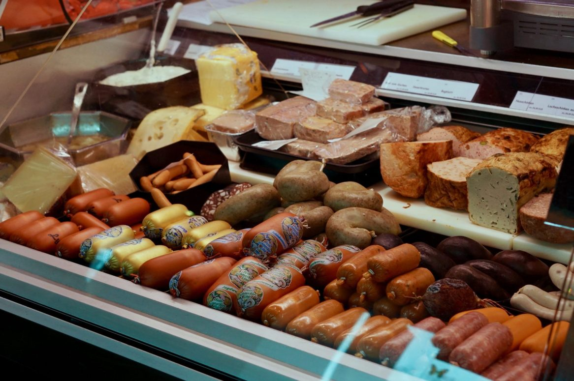 Sausages in a butcher's counter