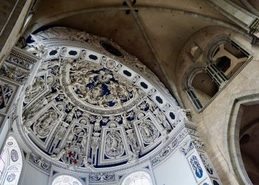 The decorated domed ceiling of Trier Cathedral