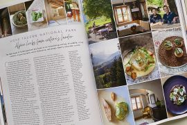 Food and Travel magazine open on a double page spread about SalzburgerLand