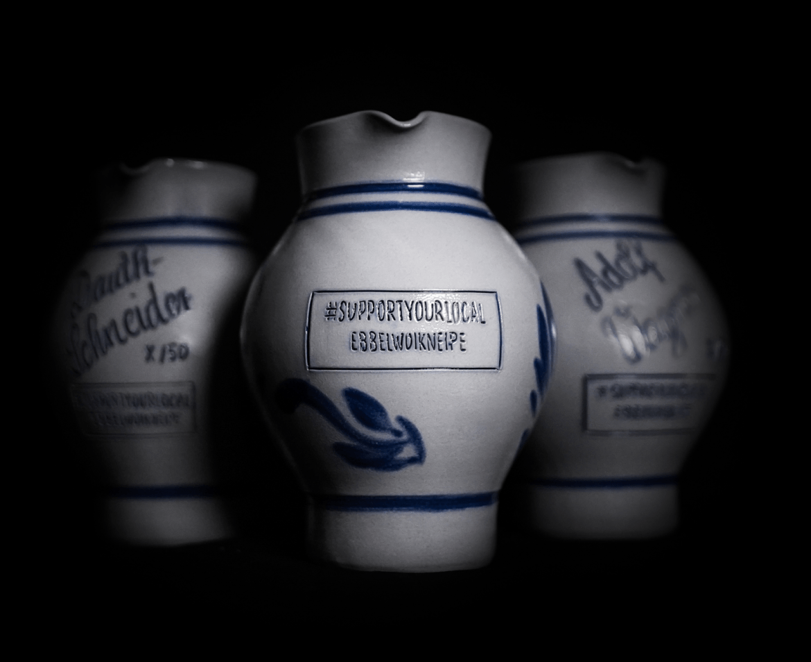 Personalised Apfelwein Bembels against a black background