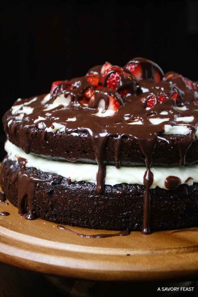 A Savoury Feast's Strawberry Chocolate Ganache Layer Cake