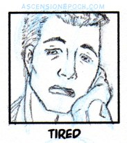 A thumbnail sketch of Torrent looking exhausted, resting his head on his hand as he yawns.