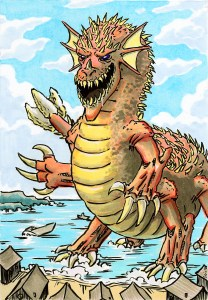 A gigantic, six-limbed sea monster with horrible claws and a gaping, fang-rimmed maw rises from the sea to attack a coastal village.