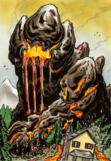 A horrifying monster of living rock and magma blazes a path of destruction through a forest, threatening a house.