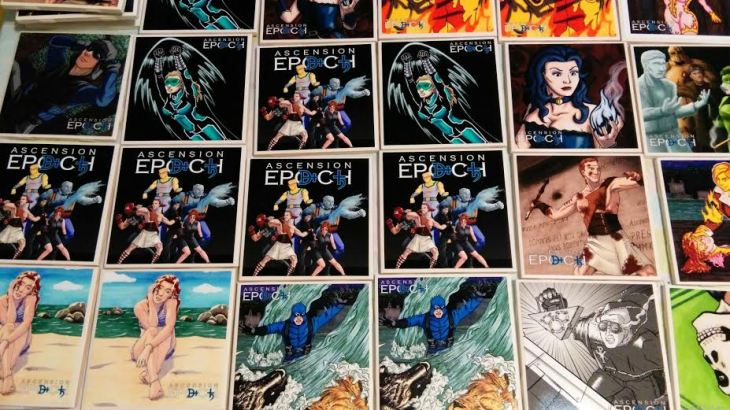 tile coasters covered with superhero and character art from the Ascension Epoch